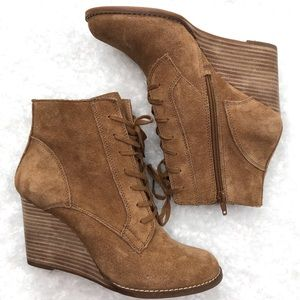 """Lucky Brand """"Yelloh"""" Suede Wedge Heel Ankle Boot"""
